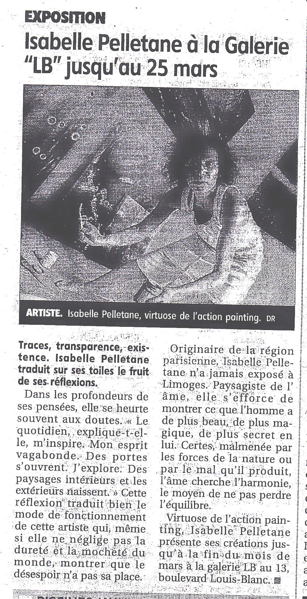 """Le Populaire : """"Isabelle Pelletane à la galerie LB"""" – LIMOGES"""