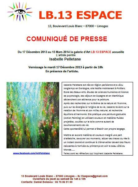 Exhibition solo, LB13 gallery – LIMOGES