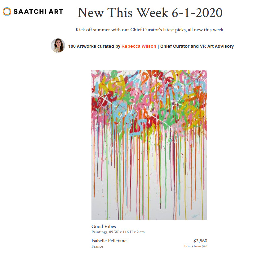 """In the Saatchi Art COLLECTION : """"New This Week"""" (USA)"""