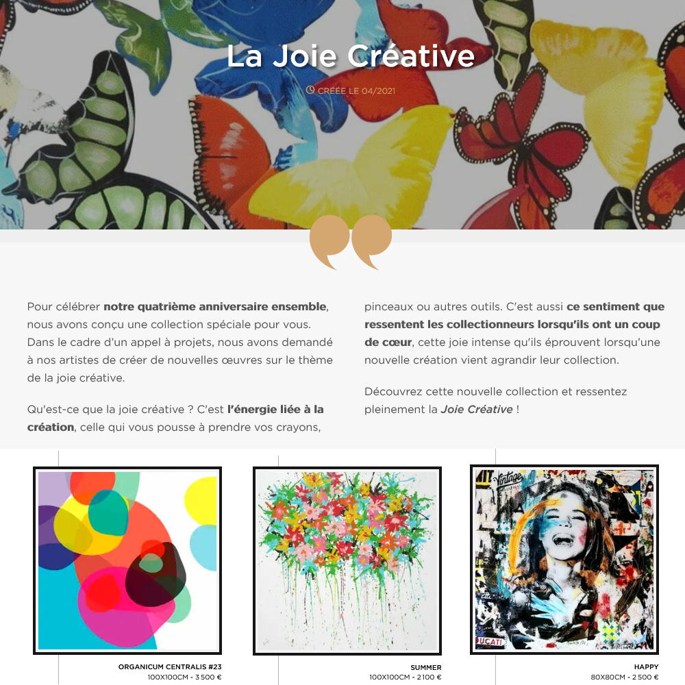 """In the Singulart COLLECTION : """"La joie créative"""" (FR)"""