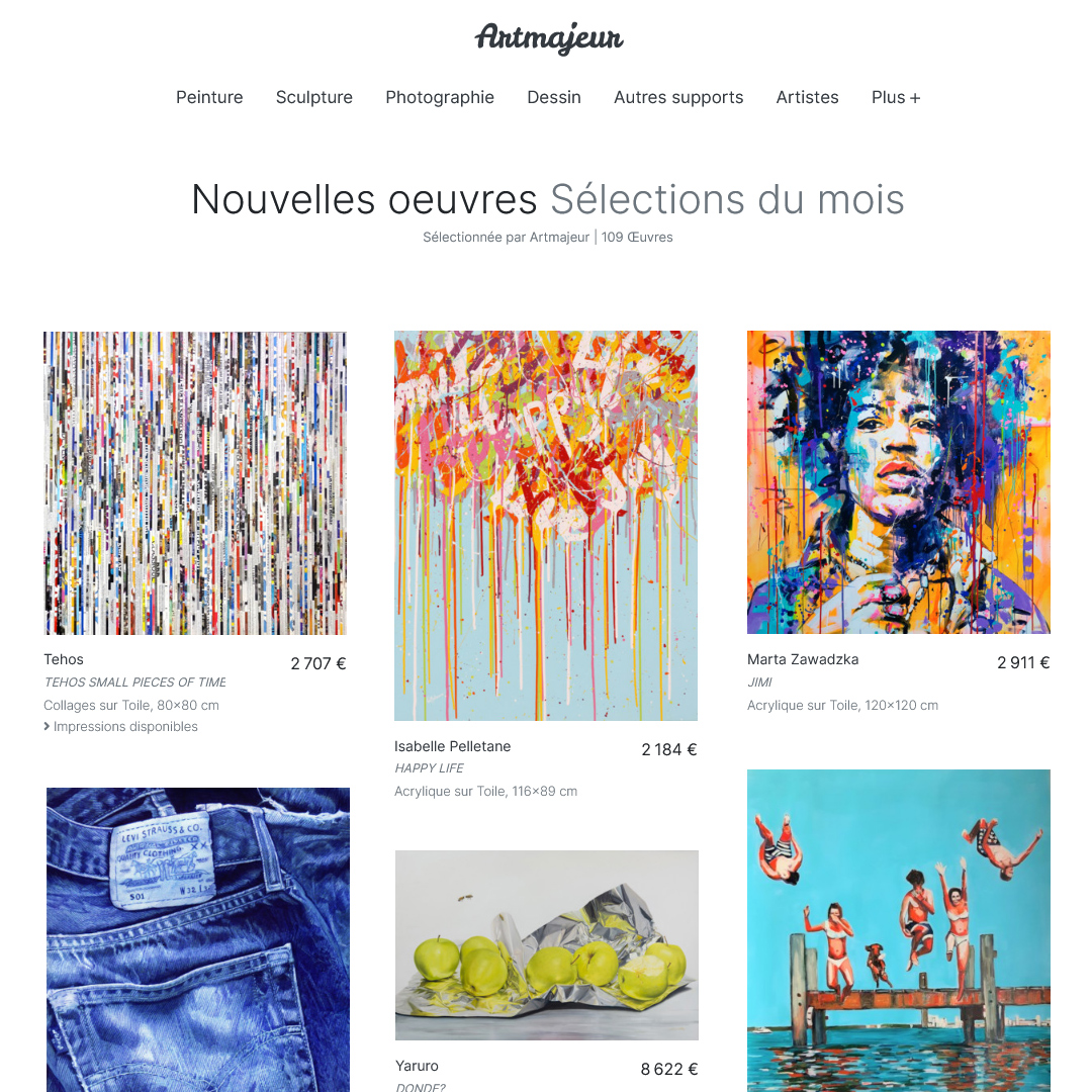 In the Artmajeur COLLECTION of the month July (FR)